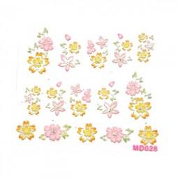 3D Nail Stickers – Blumen Gelb