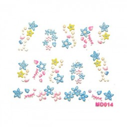 3D Nail Stickers – Blumen Blau
